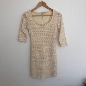 XX21 Cream/Tan/Lt. Beige Quarter Sleeve Lace Dress